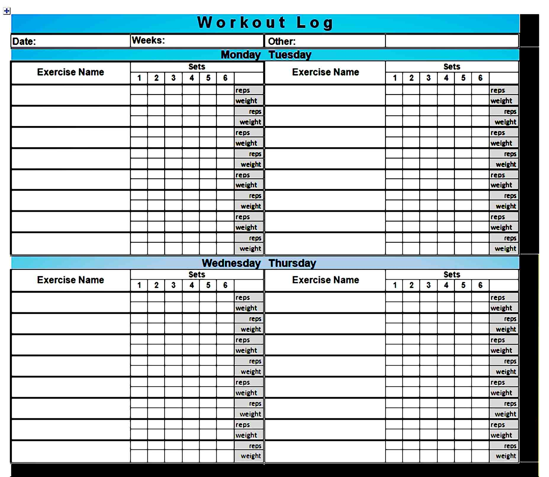 workout template 28