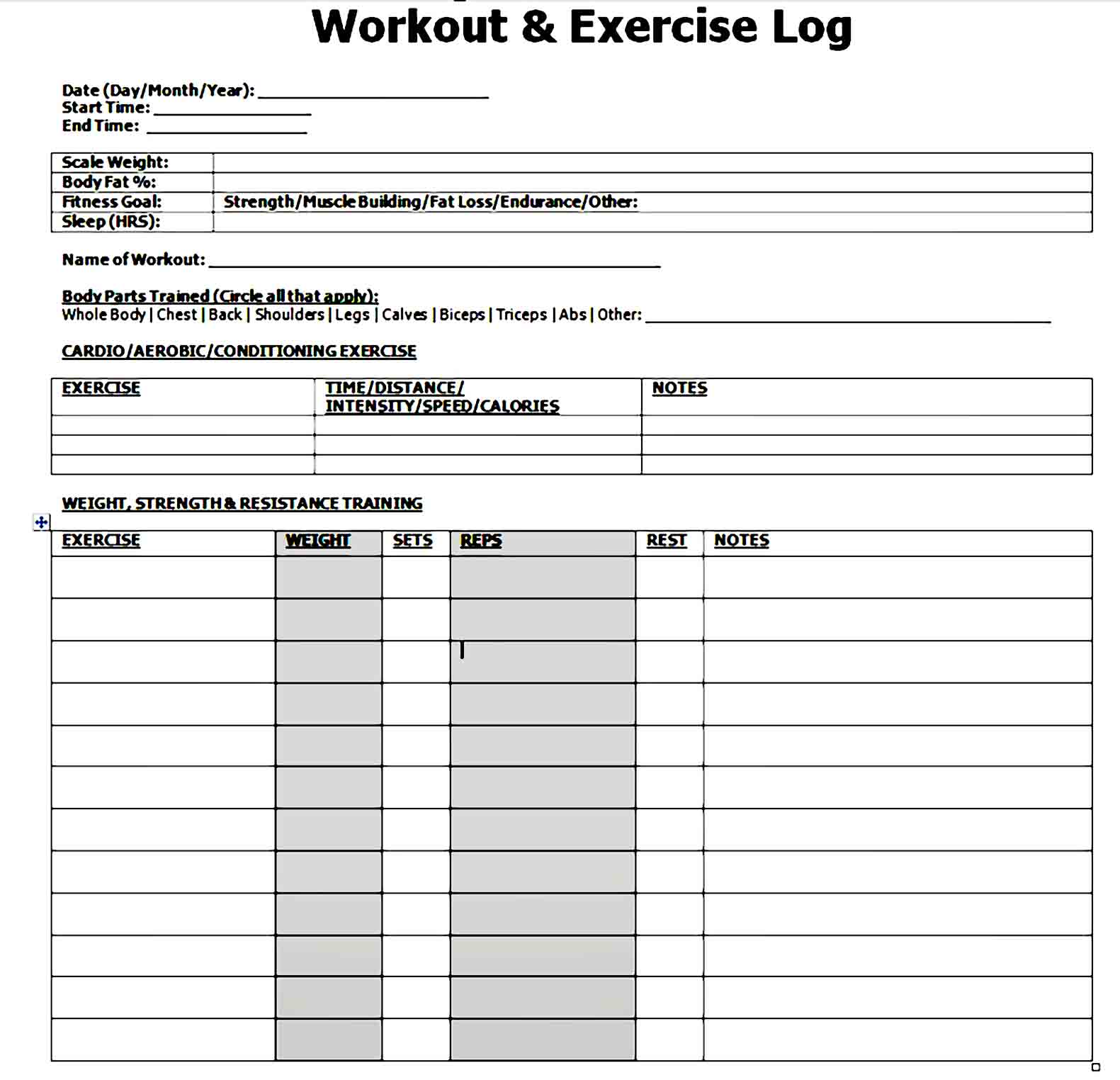 workout template 29