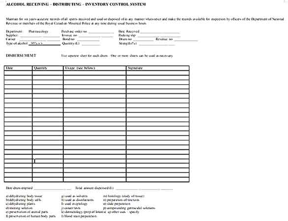 Alcohol Distribution Inventory Template Document Download