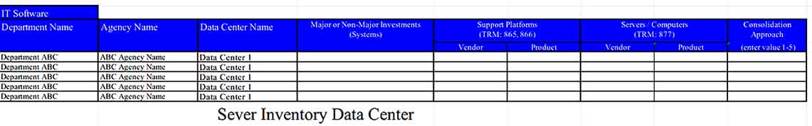 An Excel Worksheet to Sever Inventory Data Center Templates Sample