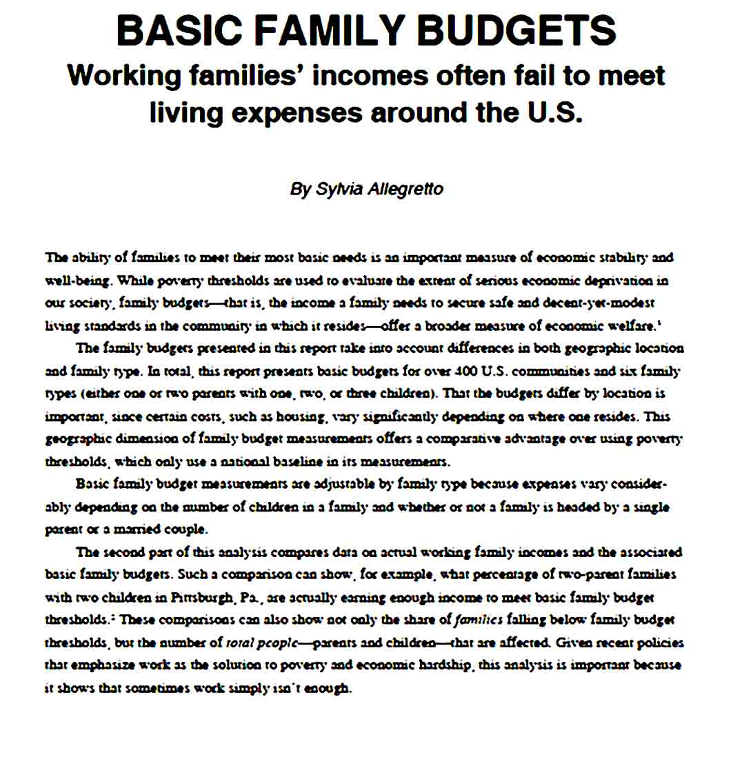 Annual Family Budget