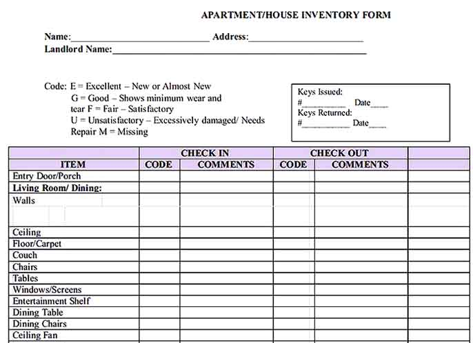 Apartment Property Inventory Sample Templates Sample
