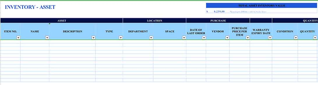 Asset Tracking Inventory 1 Templates Sample