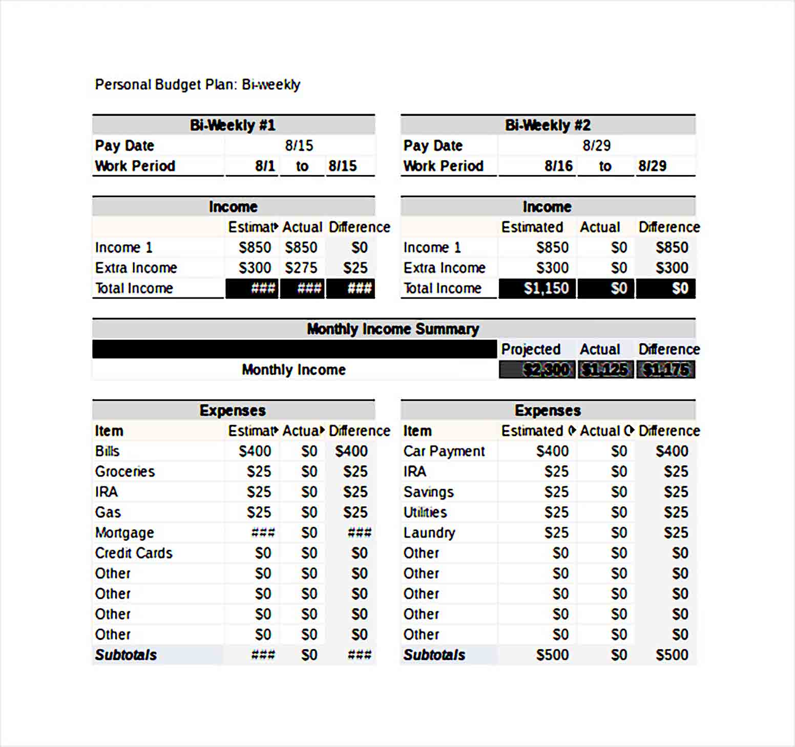 Bi Weekly Personal Budget Template Excel File Download