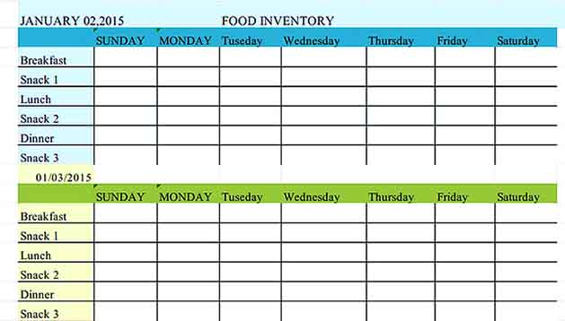 Blank Food Inventory Template