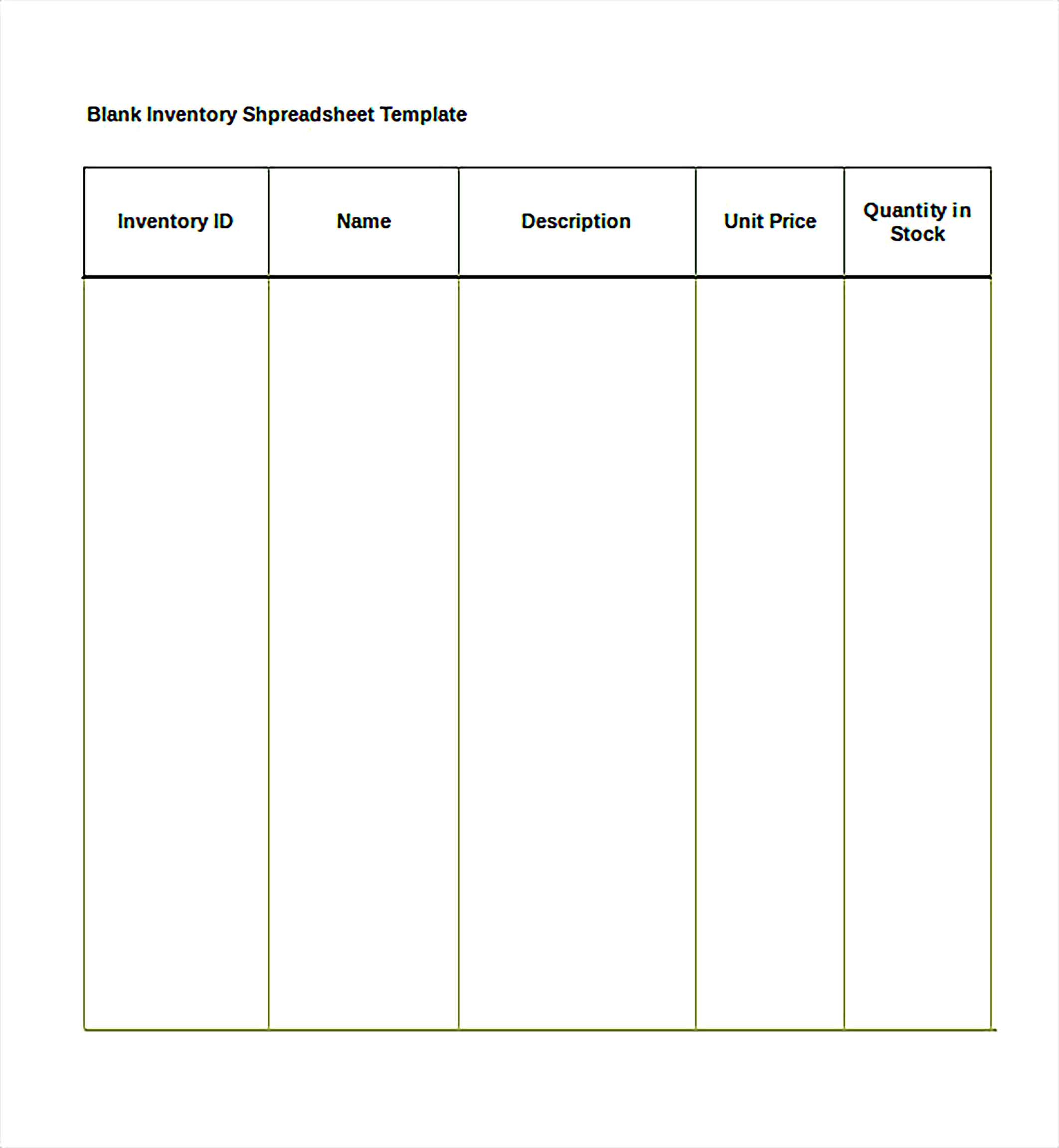Blank Inventory Spreadsheet Excel Template Free Download