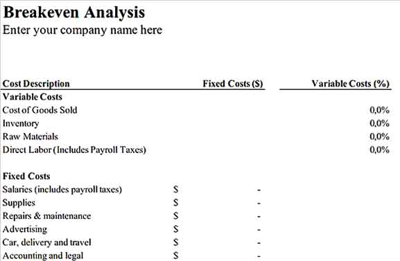 Breakeven Analysis Inventory Sample Template Download 1