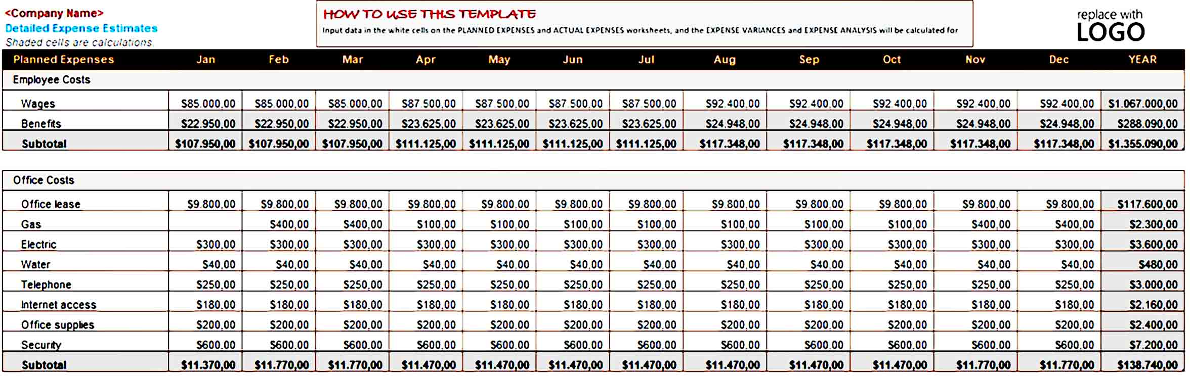 Business Expense Budget Template Excel