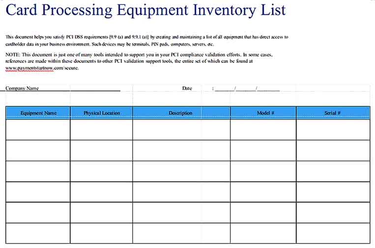 Card Processing Equipment Inventory List Templates Sample