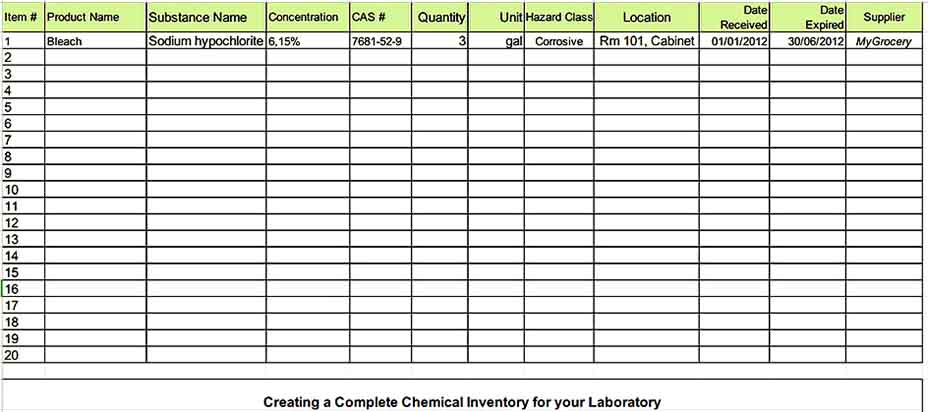 Chemical Supply Inventory XLS Templates Sample
