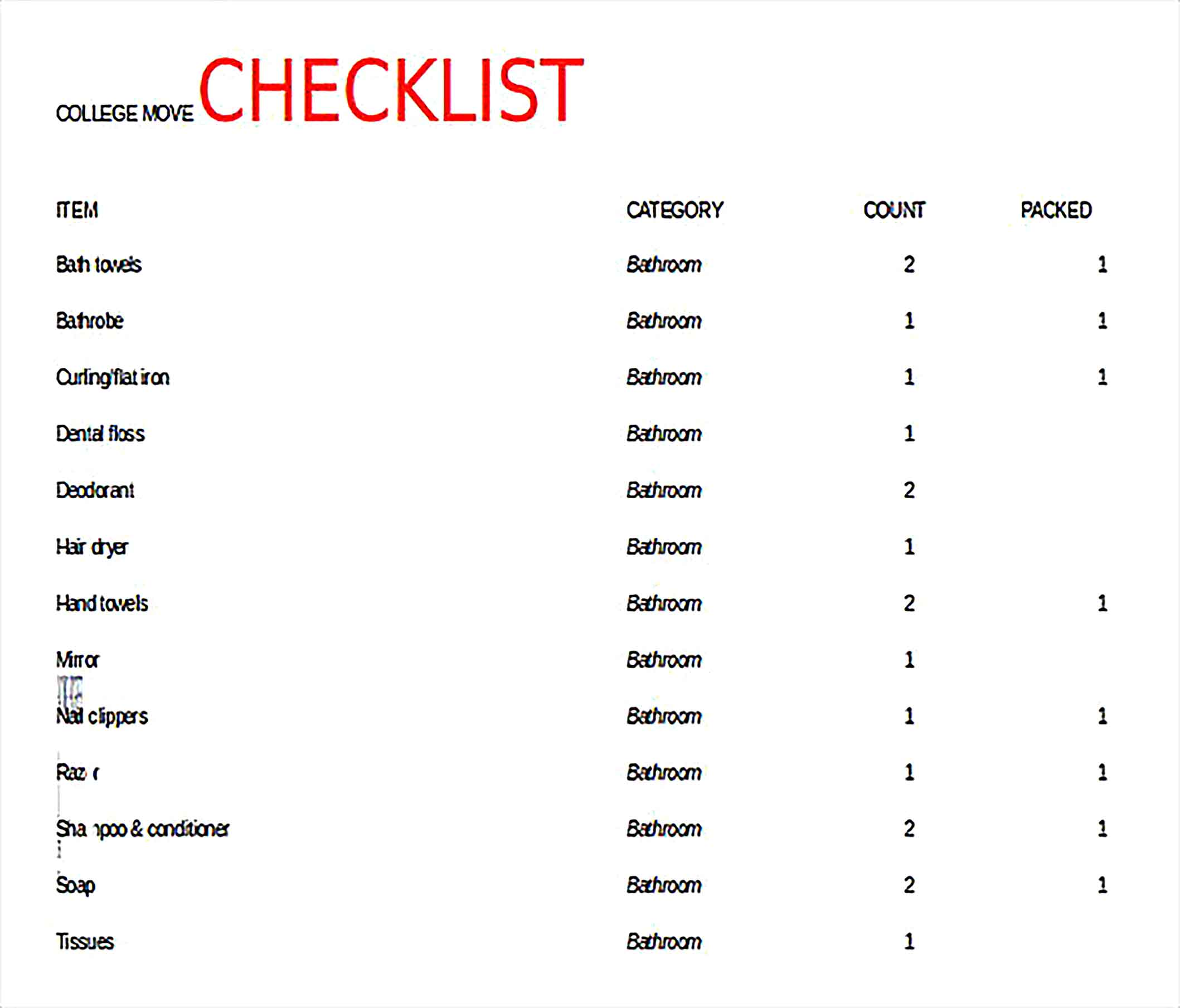 College Move In Checklist Free Excel Download