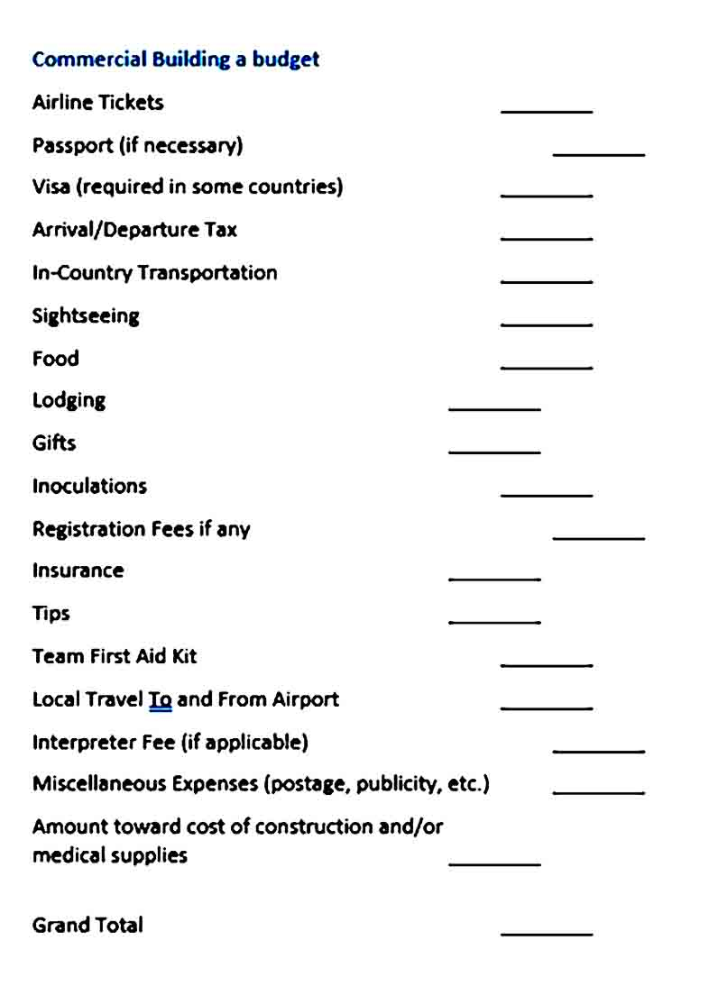 Commercial Building Budget Template