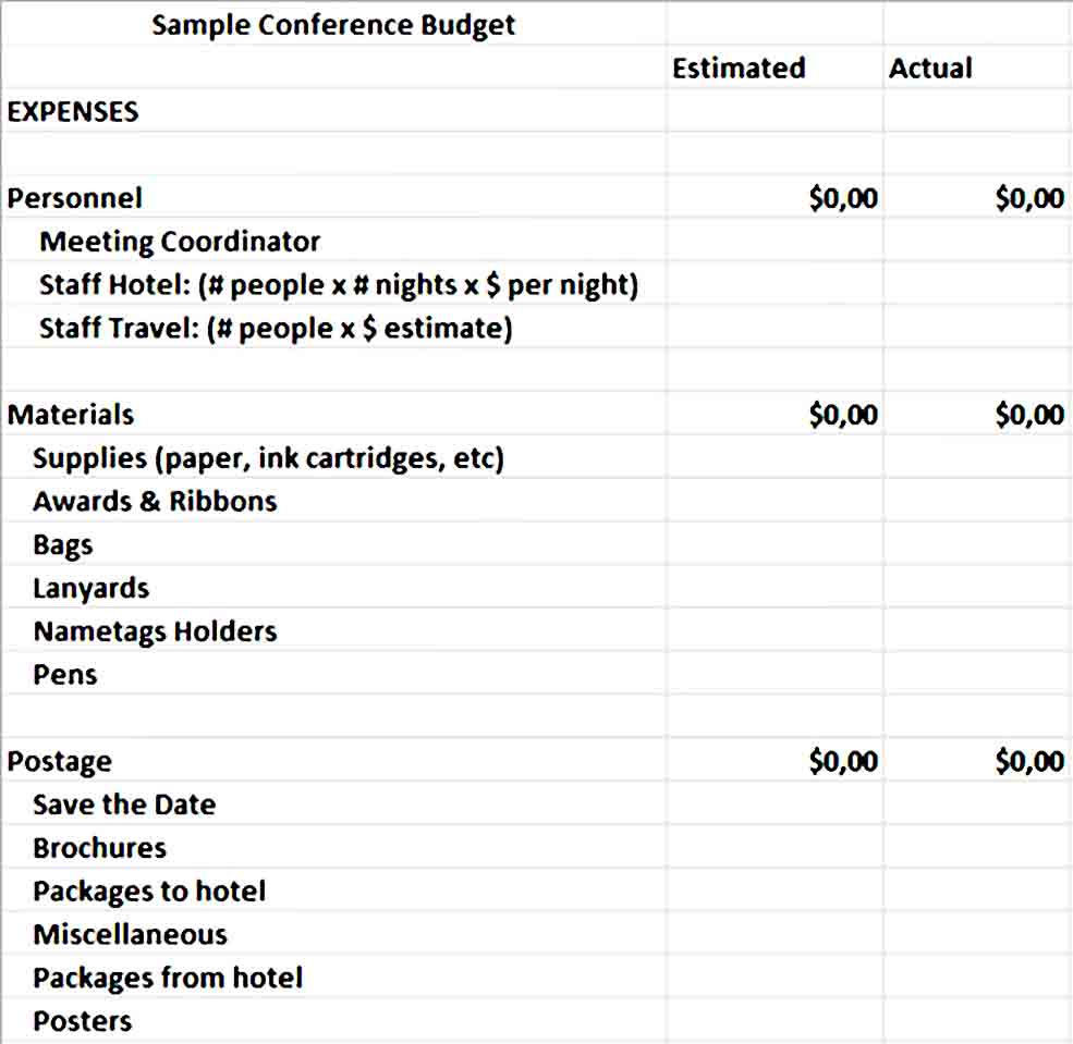 Conference Budget Spreadsheet 1