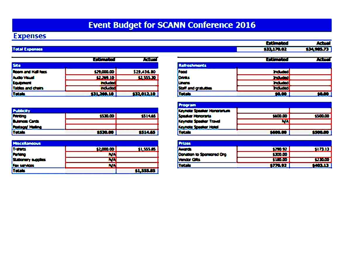 Conference Event Budget 1