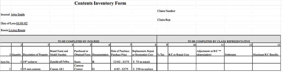 Contents Inventory Form Free Download 1