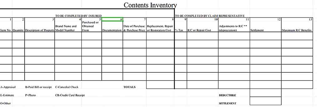 Contents Inventory Form Free Download