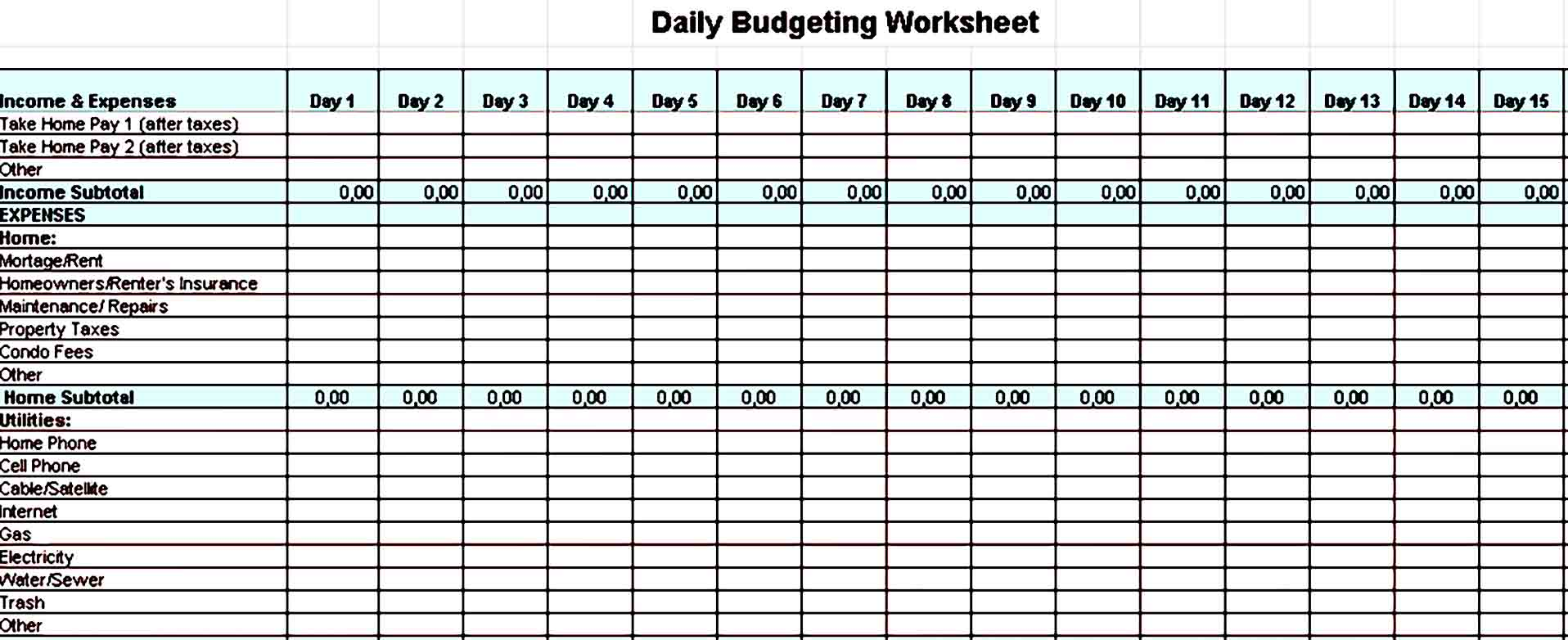Daily Home Budget Template Excel