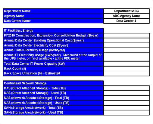 Data Center IT Inventory Template Excel Download