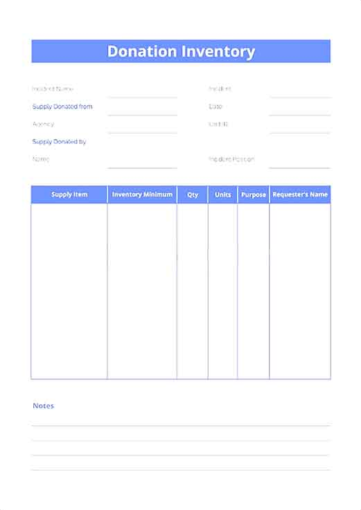 Donation Inventory Template
