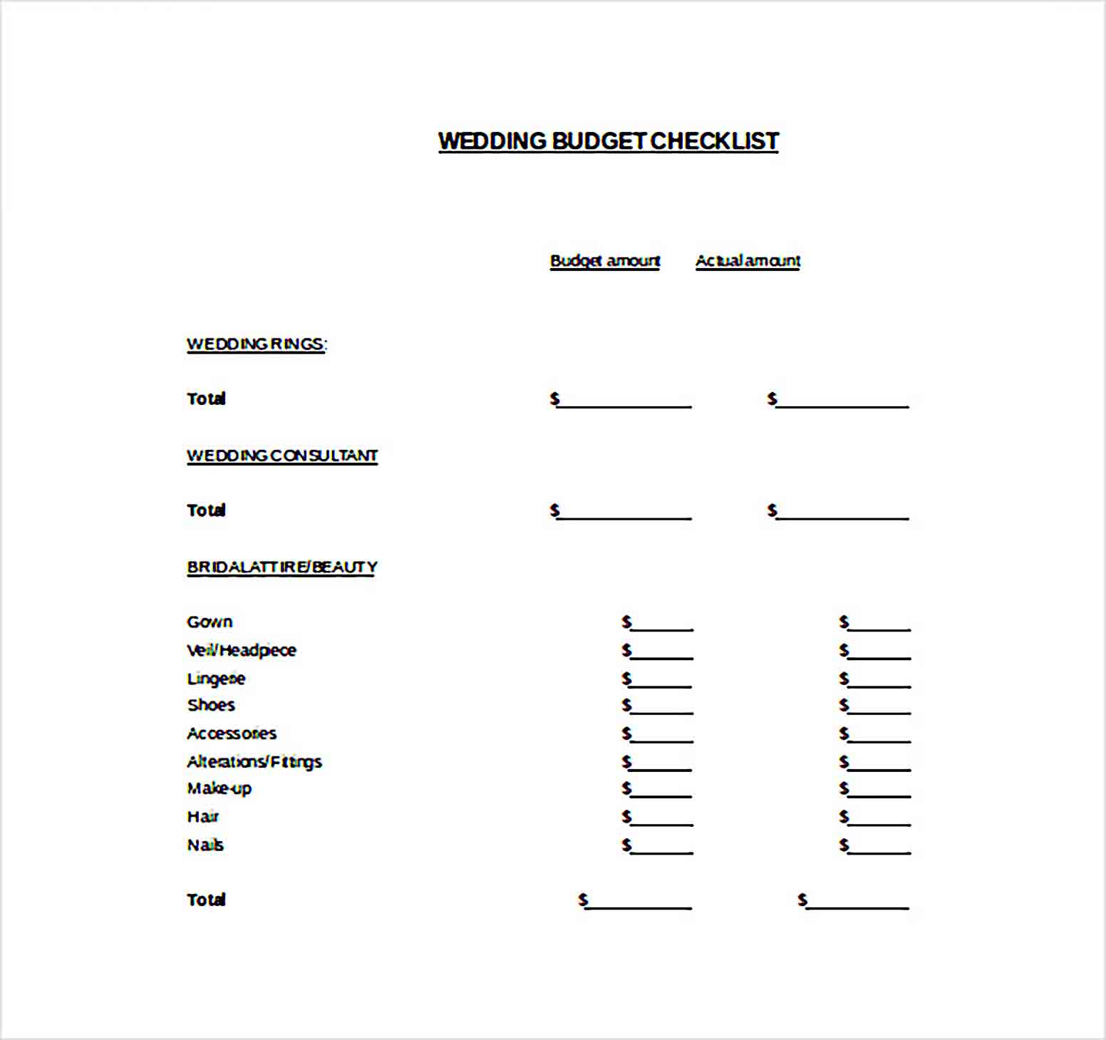 Easy To Edit Wedding Budget Template For Download