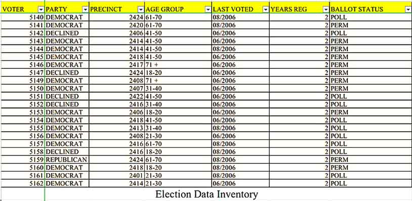 Election Data Inventory In Excel Templates Sample