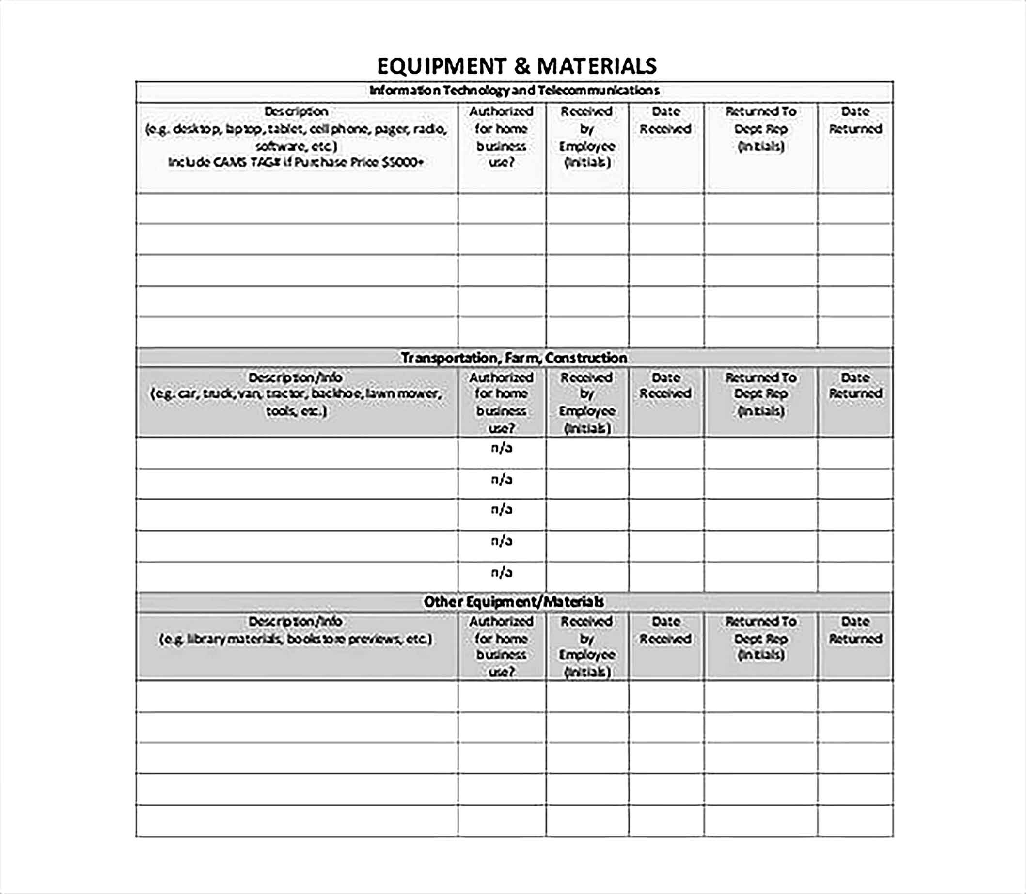 Employee Assigned Asset Tracking PDF Format Template1