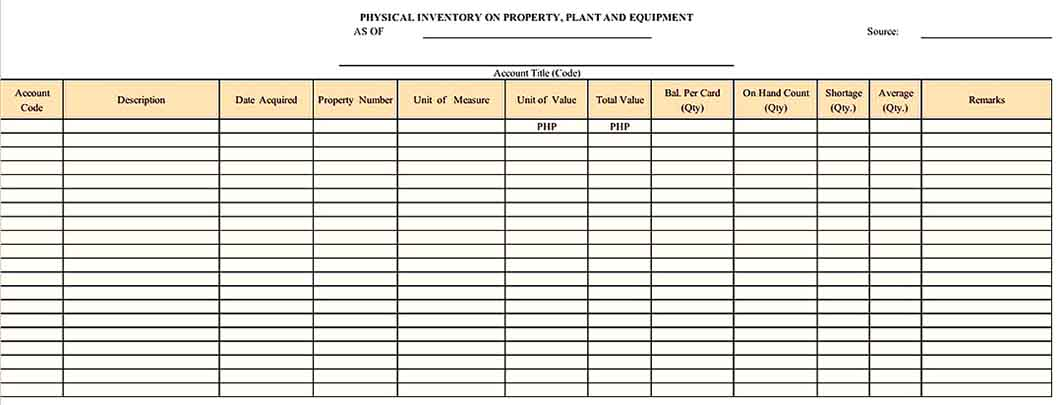 Example Equipment Inventory Template Download