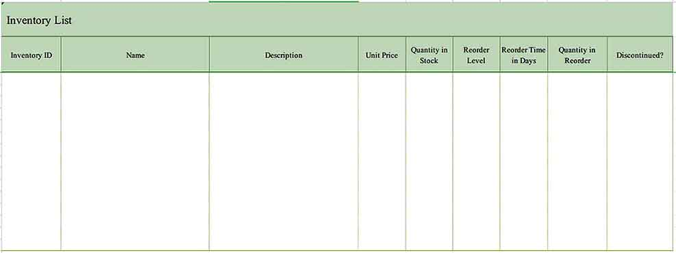 Example Format Inventory List Templates Sample