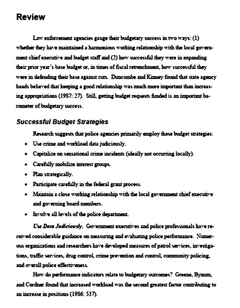 Example for Department Budget