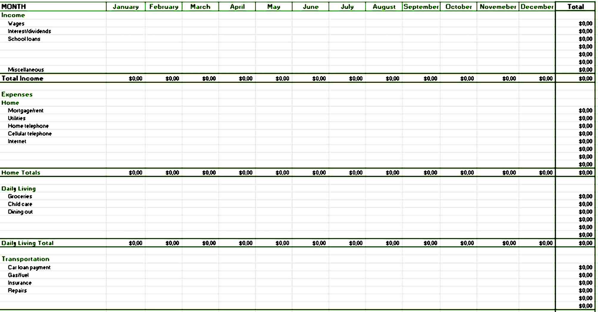 Excel Annual Home Budget Template