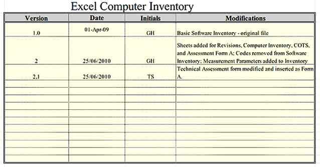 Excel Computer Inventory Template