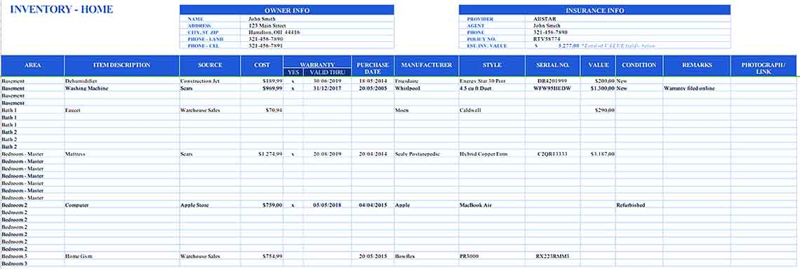 Excel DatabaseHome Inventory Templates Sample