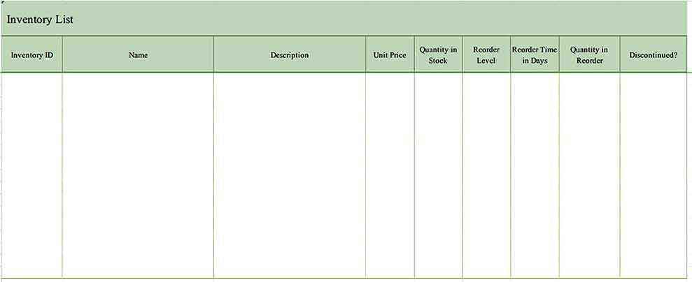 Excel Format Inventory List Templates Sample