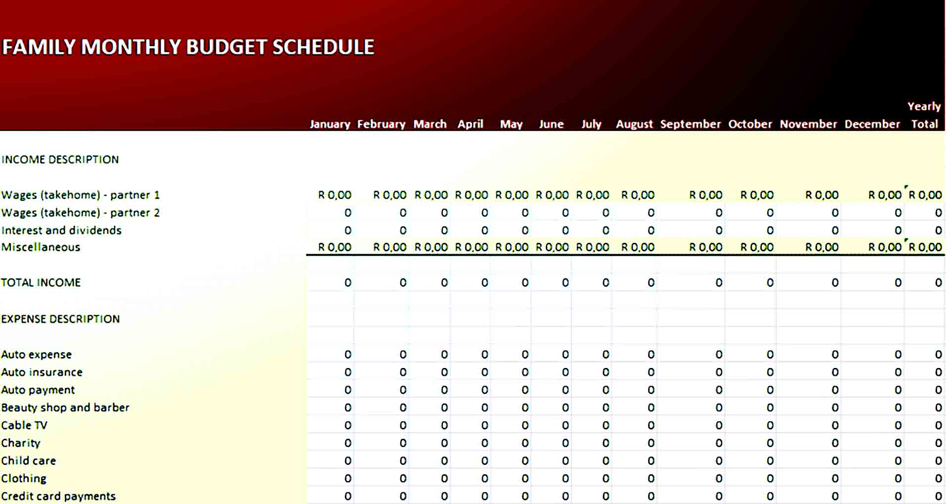 Family Monthly Budget Worksheet Template