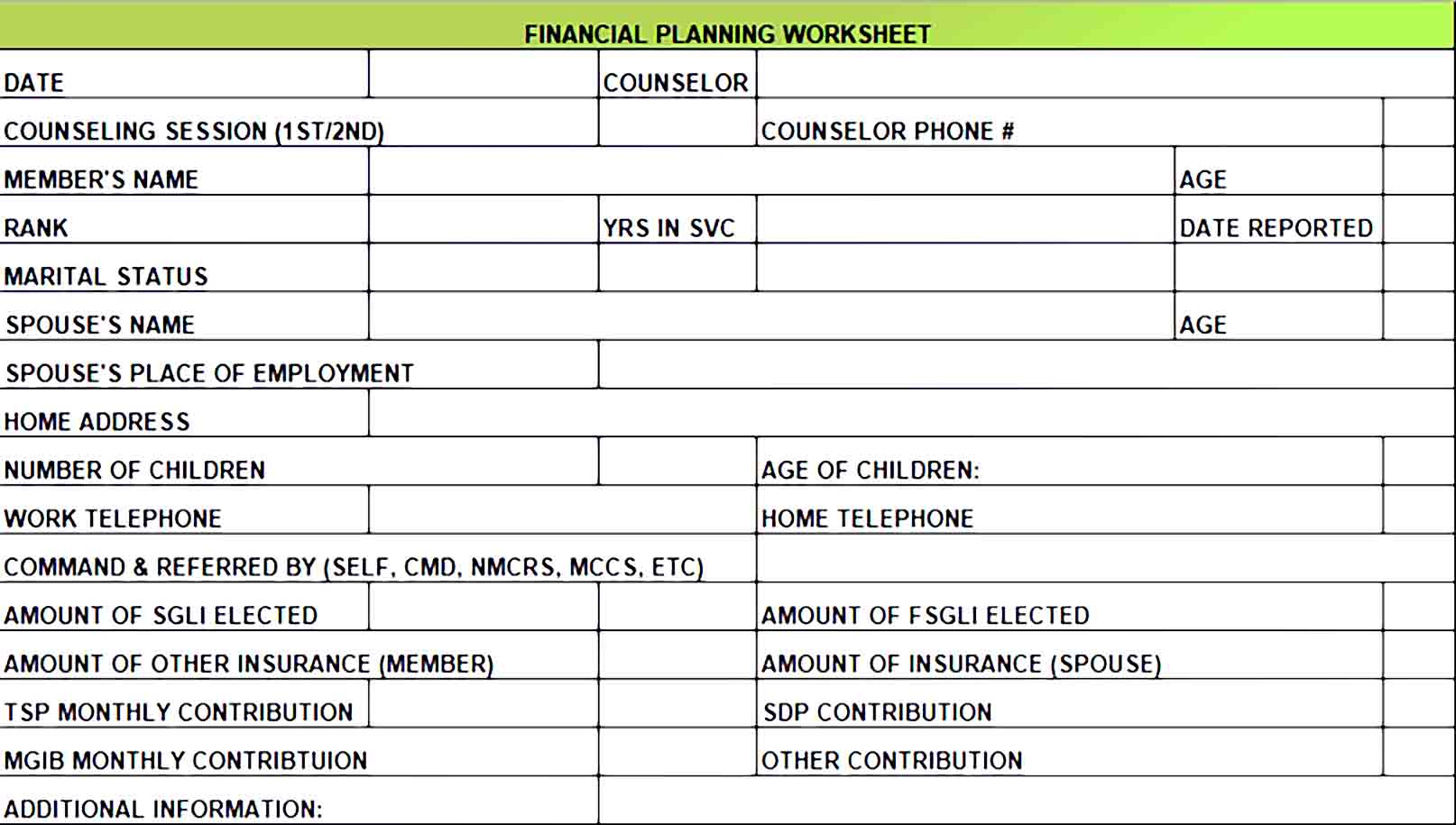 Financial Monthly Budget Template