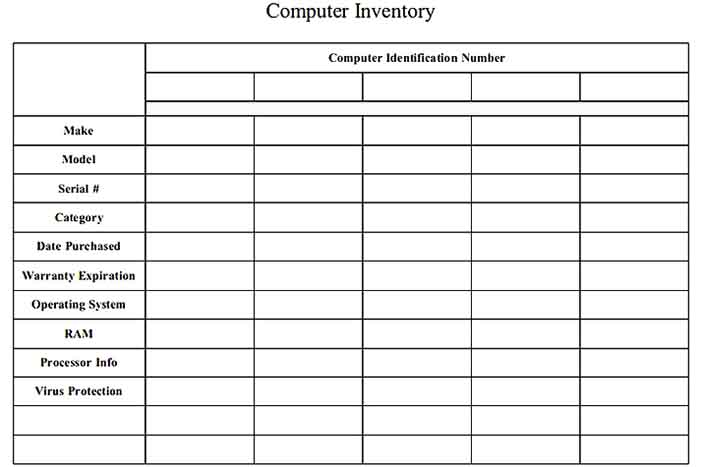 Free Download Document Form Of Computer Inventory Template
