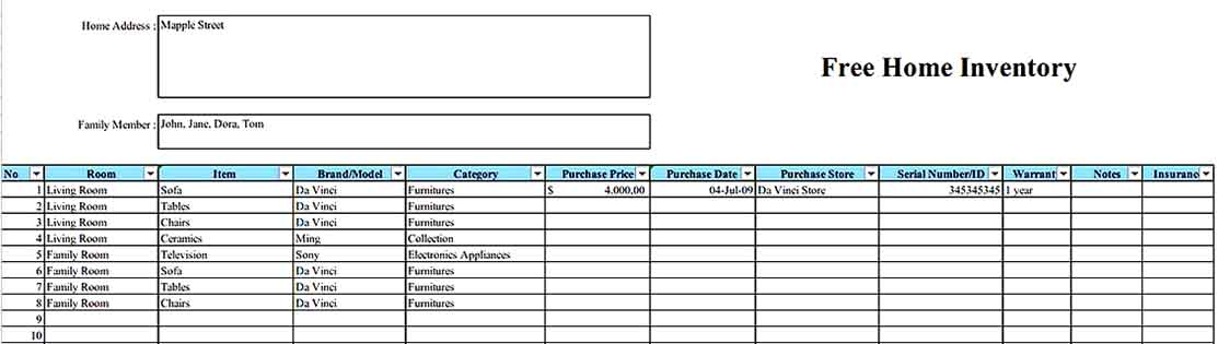 Free Home Inventory Form In Excel Format1