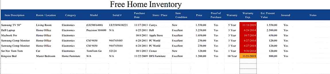 Free Home Inventory Spreadsheet Excel Download