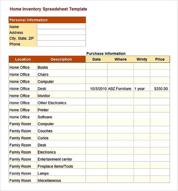 Free Home Inventory Spreadsheet Template