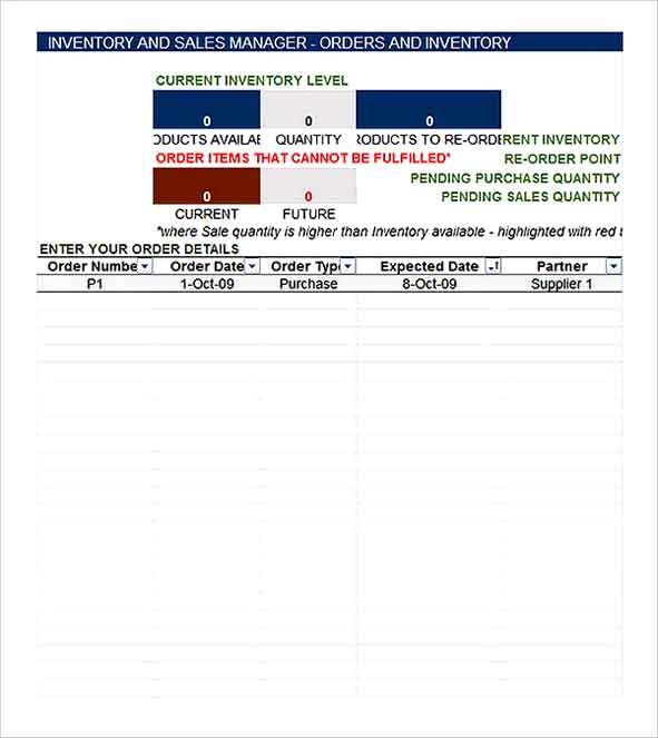 Free Inventory and Sales Manager Spreadsheet Template