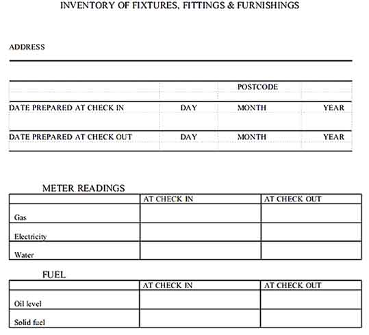 Furnishing Property Inventory PDF Template