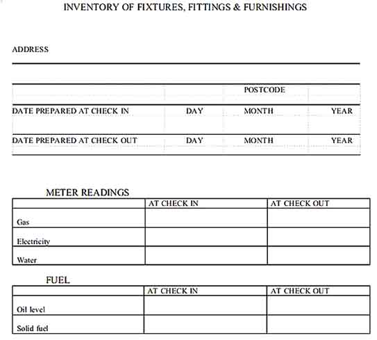 Furnishing Property Inventory Templates Sample