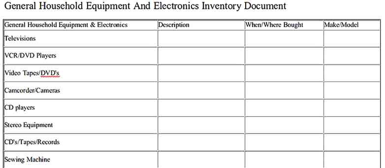 General Household Equipment And Electronics Inventory Document Free Download
