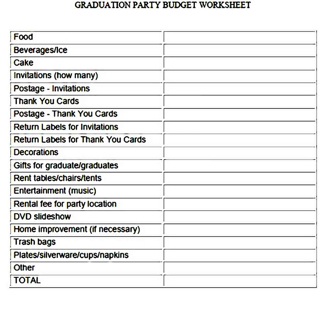 Graduation Party Budget Template