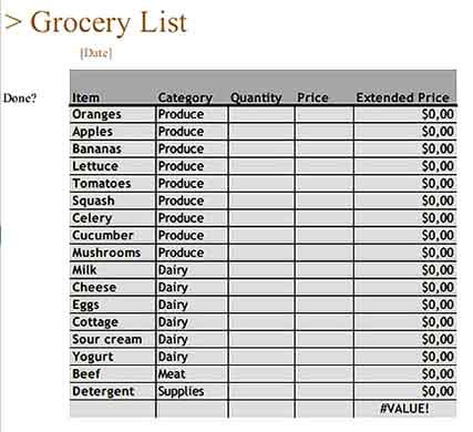 Grocery Inventory Templates Sample