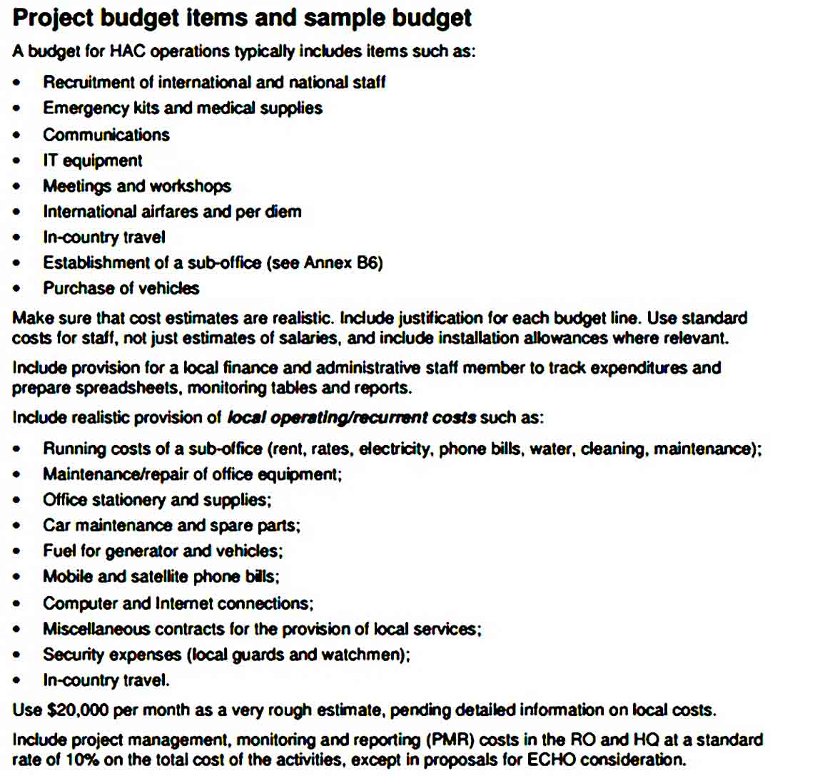 Health Program Budget Template