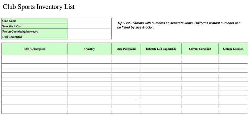 Home Contents Inventory List Excel Templates Sample