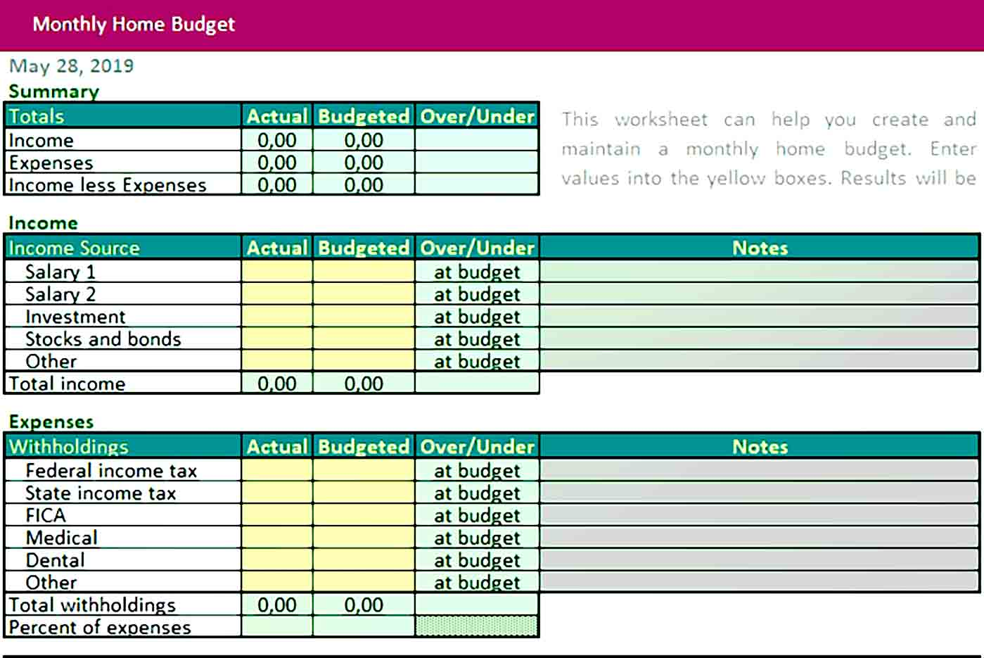 Home Monthly Budget Template Excel