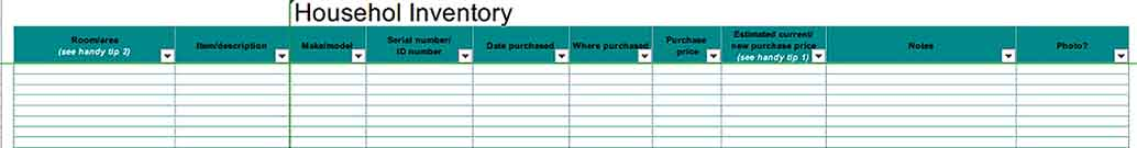Household Inventory Checklist Excel Download