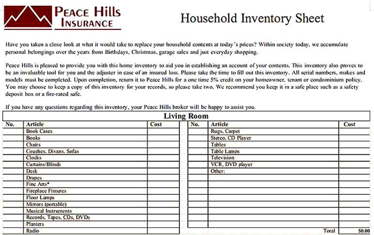 Household Inventory Spreadsheet Download Templates Sample